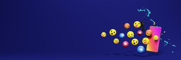 Gebruik emoticon van social media in bahama voor de behoeften van tv en website-achtergronddekking lege ruimte