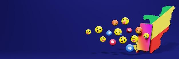 Gebruik emoticon van sociale media in de republiek congo voor de behoeften van tv en website op sociale media