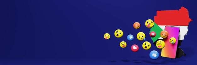 Gebruik emoticon van sociale media in soedan voor de behoeften van sociale media-tv en website-achtergrondomslag