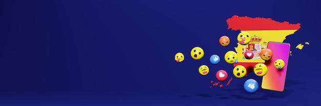 Gebruik emoticon van sociale media in spanje voor de behoeften van sociale media-tv en website-achtergronddekking