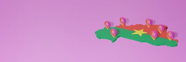 Gebruik en distributie van social media instagram in burkina faso voor infographics in 3d-weergave