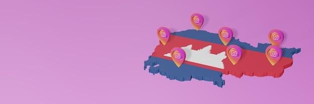 Gebruik en distributie van social media instagram in cambodja voor infographics in 3d-rendering Premium Foto