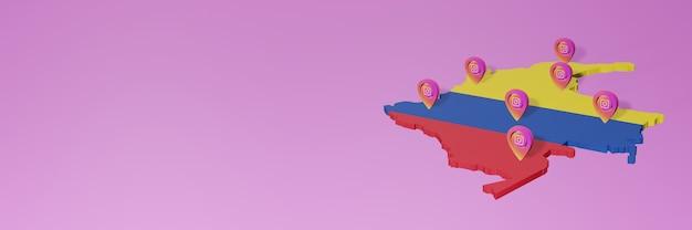 Gebruik en distributie van social media instagram in colombia voor infographics in 3d-rendering