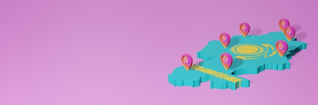 Gebruik en distributie van social media instagram in kazachstan voor infographics in 3d-rendering