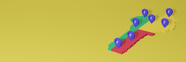 Gebruik en distributie van sociale media facebook in benin voor infographics in 3d-weergave