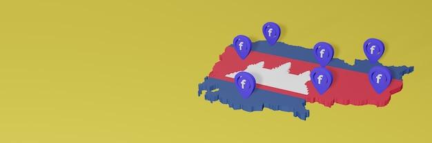 Gebruik en distributie van sociale media facebook in cambodja voor infographics in 3d-weergave Premium Foto