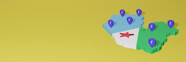 Gebruik en distributie van sociale media facebook in djibouti voor infographics in 3d-weergave