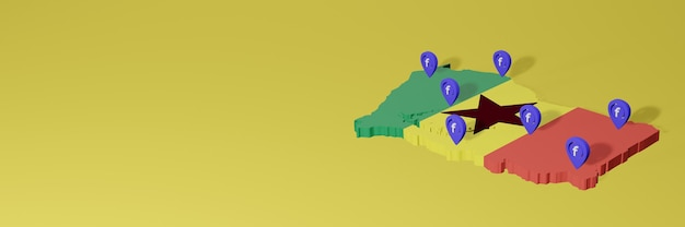 Gebruik en distributie van sociale media facebook in ghana voor infographics in 3d-weergave