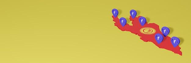 Gebruik en distributie van sociale media facebook in kirgizische voor infographics in 3d-weergave