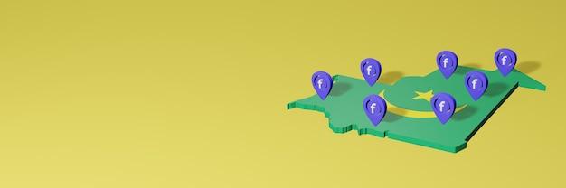 Gebruik en distributie van sociale media facebook in mauritanië voor infographics in 3d-weergave