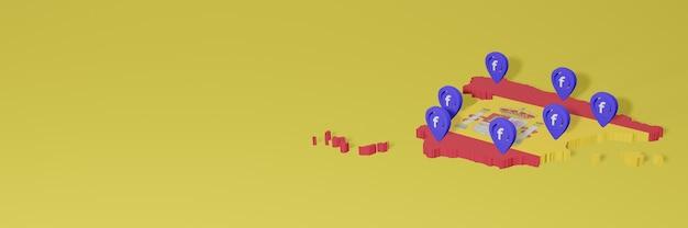 Gebruik en distributie van sociale media facebook in spanje voor infographics in 3d-weergave