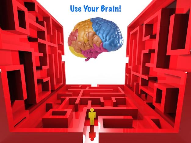 Gebruik je hersenconcept met labyrint en kleurrijke hersenen