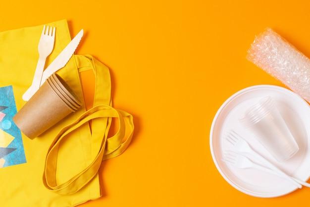 Gebruik papieren tassen, natuurlijke katoenen tassen en tassen voor producten in plaats van plastic tassen