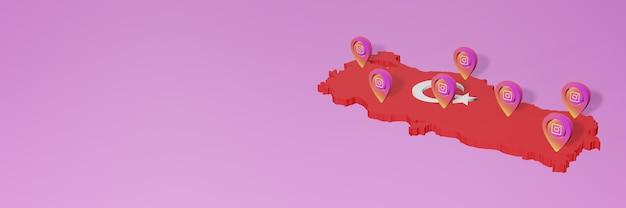 Gebruik van sociale media en instagram in turkije voor infographics in 3d-weergave