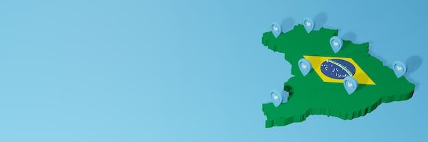 Gebruik van sociale media en twitter in brazilië voor infographics in 3d-weergave