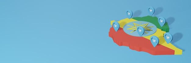 Gebruik van sociale media en twitter in ethiopië voor infographics in 3d-weergave