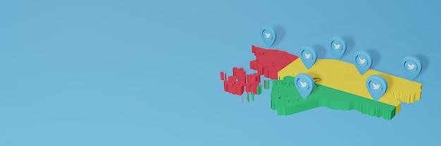 Gebruik van sociale media en twitter in guinee-bissau voor infographics in 3d-weergave