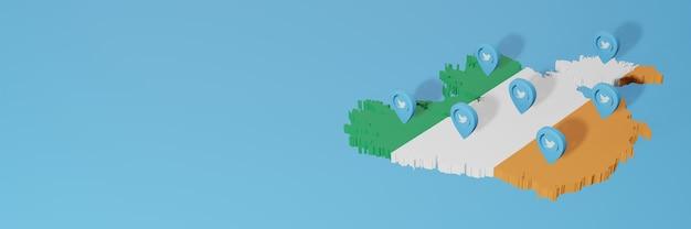 Gebruik van sociale media en twitter in ierland voor infographics in 3d-weergave