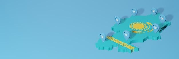 Gebruik van sociale media en twitter in kazachstan voor infographics in 3d-weergave