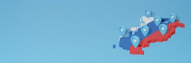 Gebruik van sociale media en twitter in rusland voor infographics in 3d-weergave
