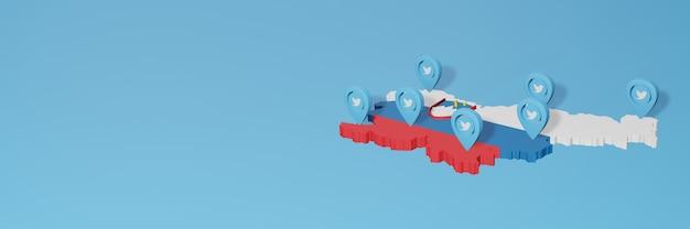 Gebruik van sociale media en twitter in slovenië voor infographics in 3d-weergave
