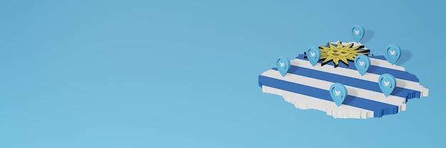 Gebruik van sociale media en twitter in uruguay voor infographics in 3d-weergave