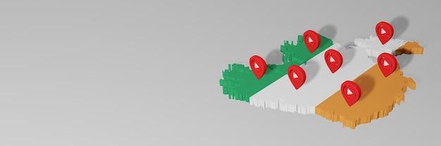 Gebruik van sociale media en youtube in ierland voor infographics in 3d-weergave