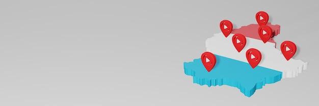 Gebruik van sociale media en youtube in luxemburg voor infographics in 3d-weergave