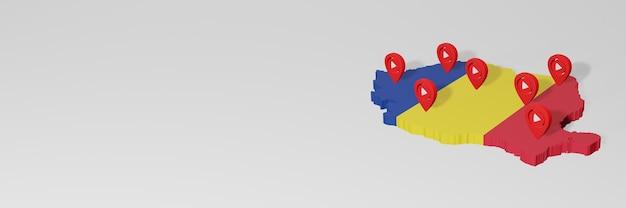 Gebruik van sociale media en youtube in roemenië voor infographics in 3d-weergave