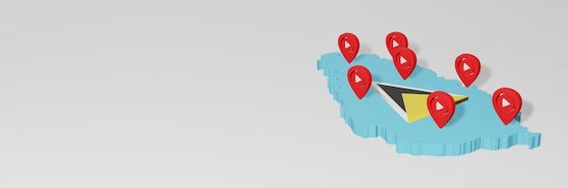 Gebruik van sociale media en youtube in saint lucia voor infographics in 3d-weergave