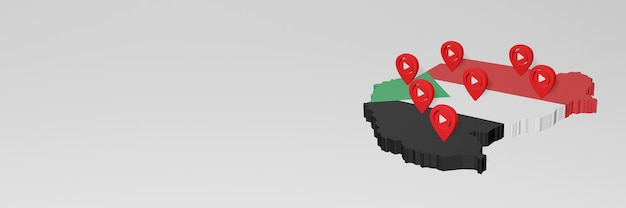 Gebruik van sociale media en youtube in soedan voor infographics in 3d-weergave