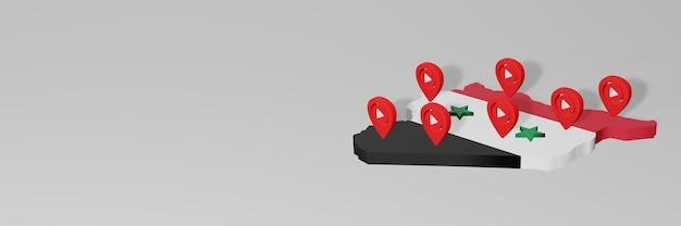 Gebruik van sociale media en youtube in syiria voor infographics in 3d-weergave