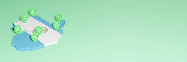 Gebruik van whatsapp in guatemala voor de behoeften van sociale media-tv en website-achtergronddekking lege ruimte