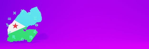 Gebruik van zodiac in djibout voor de behoeften van sociale media-tv en website-achtergronddekking lege ruimte