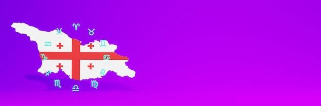 Gebruik van zodiac in georgië voor de behoeften van sociale media-tv en website-achtergronddekking lege ruimte