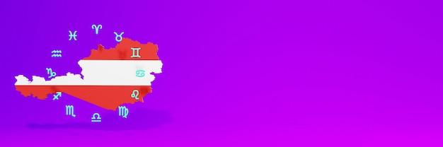 Gebruik van zodiac in oostenrijk voor de behoeften van sociale media-tv en website-achtergronddekking lege ruimte