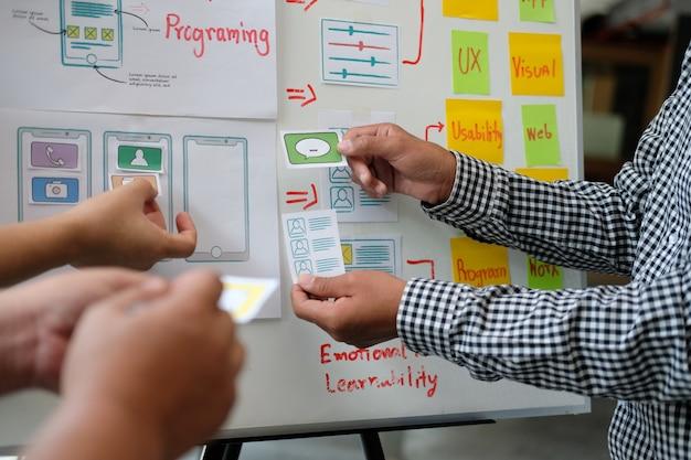 Gebruikerservaring ux-ontwerper die web ontwerpt op lay-out van smartphones.