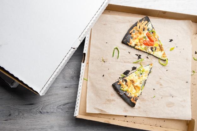 Gebruikte geopende pizzadoos met twee stukken gegeten pizza, vlekken en kruimels erin op tafeloppervlak.