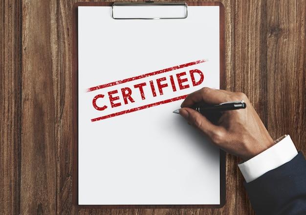 Gecertificeerd garantie garantie verzekering verzekeringsconcept