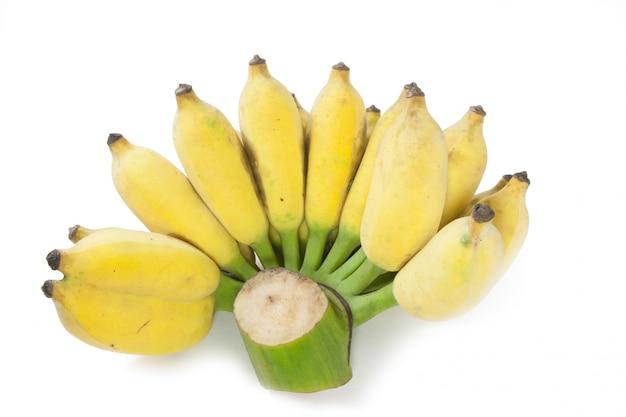 Gecultiveerde banaan die op wit wordt geïsoleerd