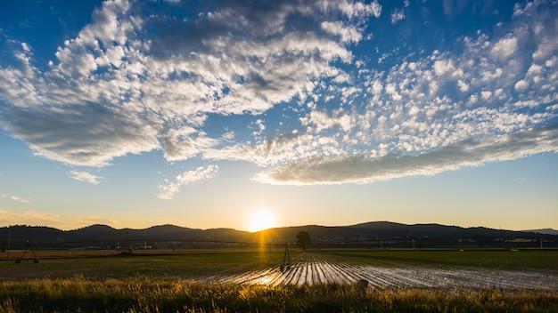 Gecultiveerde velden en boerderijen met bergketen op de achtergrond. irrigatiesysteem voor industriële landbouw