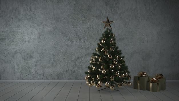 Gedecoreerde kerstboom met veel cadeautjes in een lege grijze klassieke kamer. 3d-weergave.