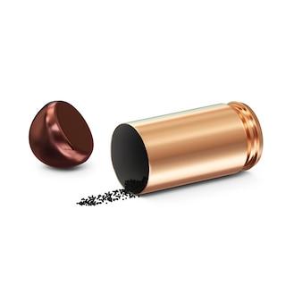 Gedemonteerde gun bullet geïsoleerd op wit