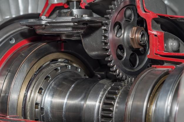 Gedetailleerde belichting van een turbojetmotor.