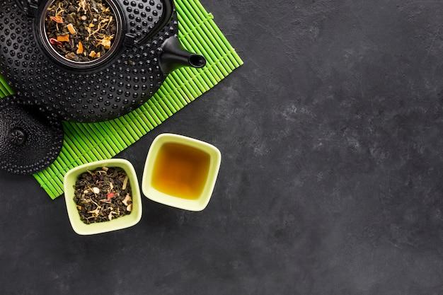 Gedroogde bladeren en bloemblaadjes voor gezonde thee op groene placemat