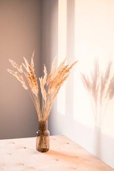 Gedroogde bloemen met schaduwen tegen een lichte muur in een minimalistische stijl