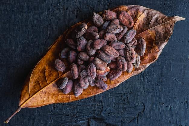 Gedroogde cacaobonen op cacaobladeren