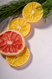 Gedroogde citrusvruchtenplakken met sparrentak