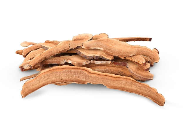 Gedroogde lingzhi-paddenstoel (ook wel reishi-paddenstoel genoemd in japan, lingcheu in thailand, lingzhi-paddenstoel in china, ganoderma lucidum karst of gelakte paddenstoel)