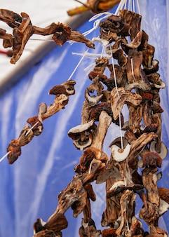 Gedroogde paddenstoelen aan een touw hangen op een landelijke kermis.